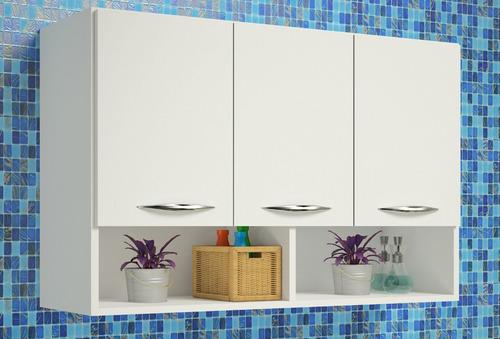 armário aéreo 3 porta suspenso cozinha parede quarto de bebê