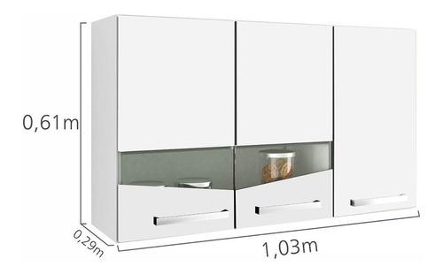 armário aéreo 3 portas de abrir lívia chf branco jg