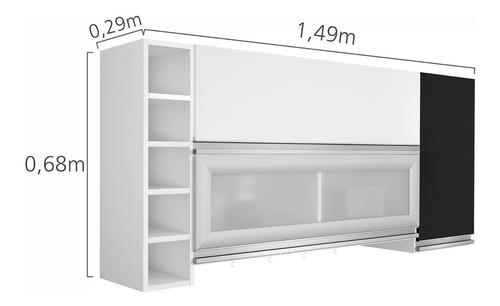 armário aéreo 3 portas e adega ébano siena móveis ec
