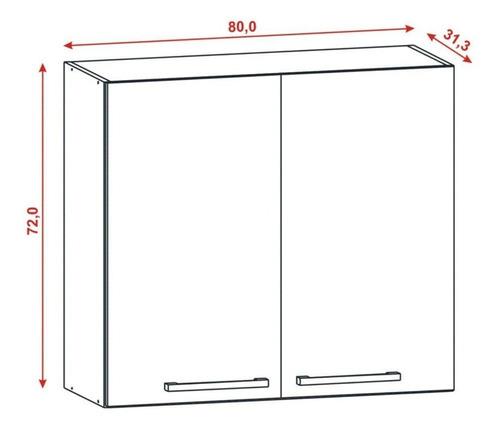 armário aéreo cozinha parede 80cm 2 portas mdp
