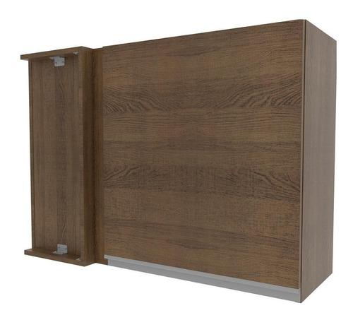 armário aéreo de canto madesa glamy 1 porta - rustic
