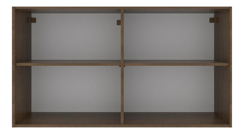 armário aéreo madesa glamy 120 cm 2 portas c/ vidro - rustic
