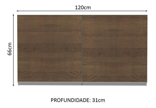 armário aéreo madesa glamy 120 cm 2 portas - rustic