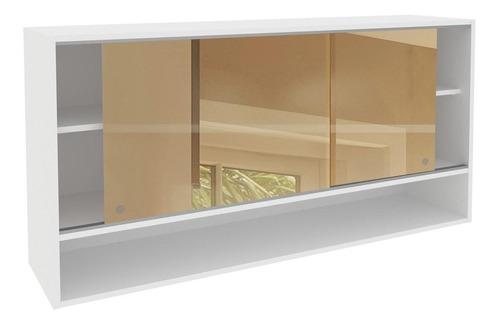 armário aéreo madesa glamy 2 portas correr de vidro - branco