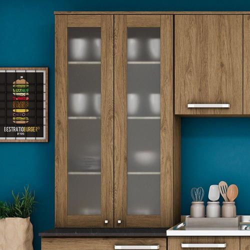 armário aéreo parede henn 2 portas com vidro rústico