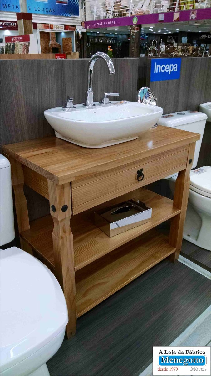 Trabalho Artesanal Manufatura E Maquinofatura ~ Armário Banheiro, Aparador De Pia;madeira Maciça R$ 497,00 em Mercado Livre