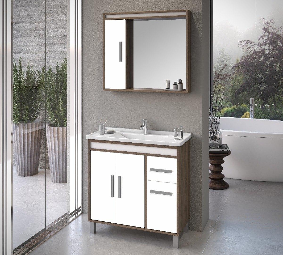 Arm rio de banheiro p s e espelho monaco80 malaga moveis for Armario 80 cm