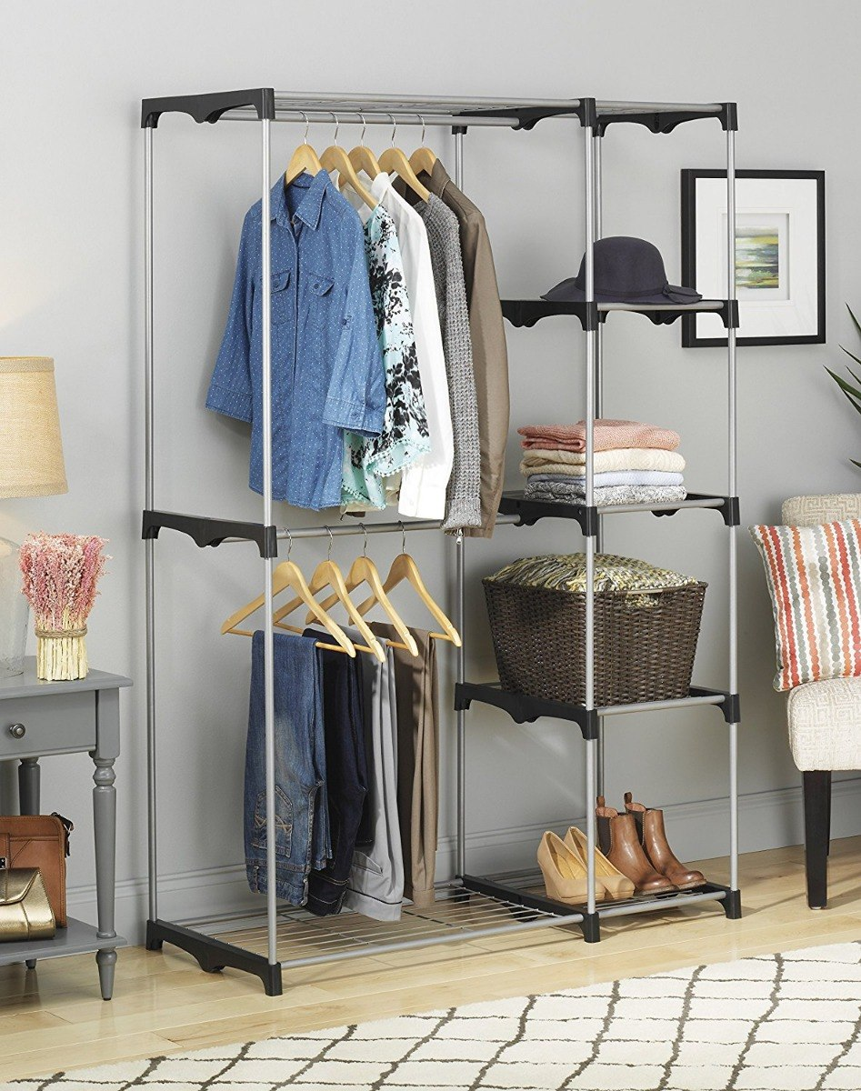 Armario Closet Portatil Whitmor Doble Varilla, Color Plata ...