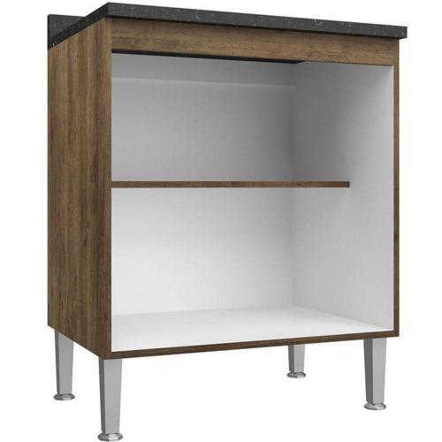 armário cozinha balcão 2 portas com tampo 1 prateleira mdp