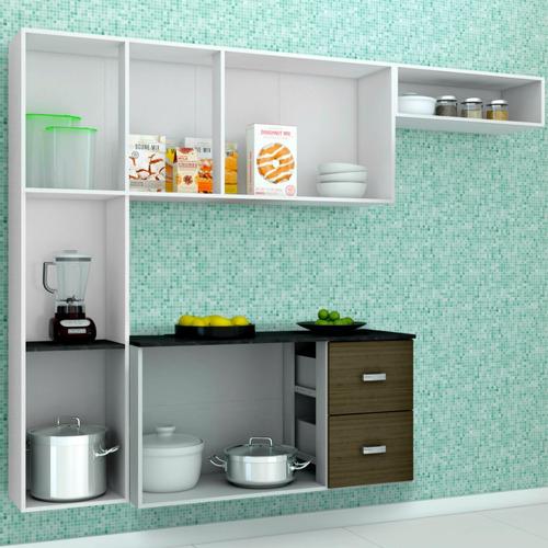 armário cozinha completa julia - aéreo, paneleiro e balcão