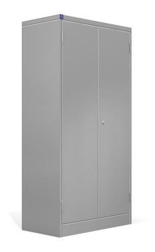 armário de aço pa70 com 3 prateleiras, maçaneta e fechadura