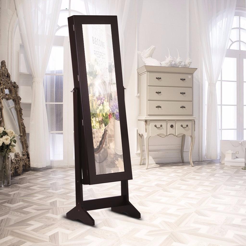 Armario espejo joyero organizador alhajero caja madera for Espejos de pie en madera