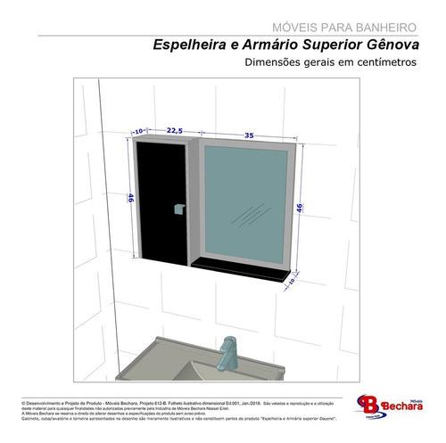 armario espelheira genova com porta cor madeira rustica 3d