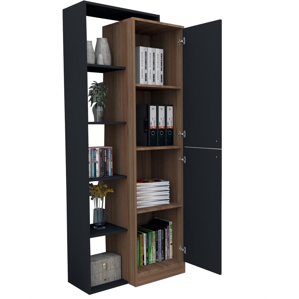 armário estante com 5 nichos moove appunto preto e castanho. Carregando  zoom. 773fd44f5063