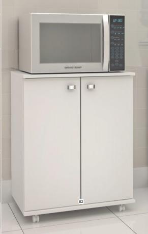 armario gabinete balcão baixo com 2 portas pes rodinha b033