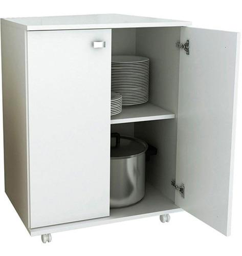 armario gabinete de cozinha branco b033 pés rodinha rodizio