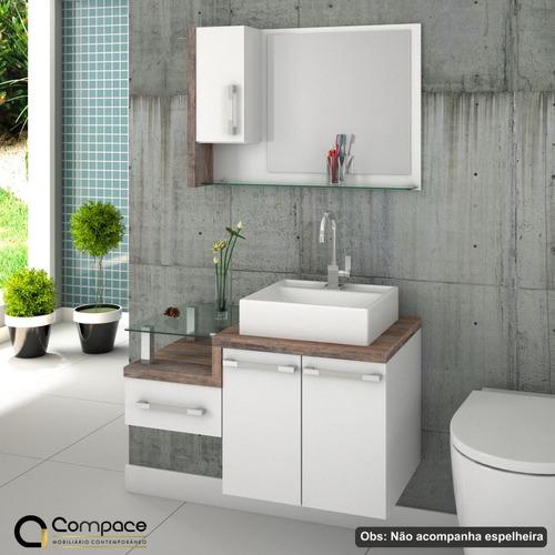 armário gabinete p/banheiro (balcão c/cuba q39) legno 830