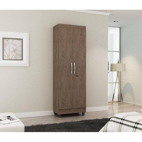 armário multiuso 2 portas com chave chicago castanho notável