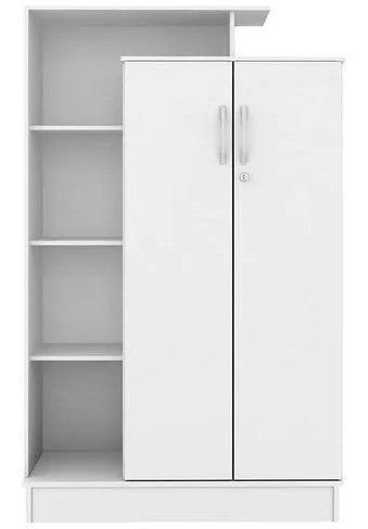 armário multiuso organizador 6 prateleiras 2 portas branc el