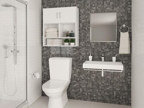 armário multiuso para máquina de lavar e banheiro