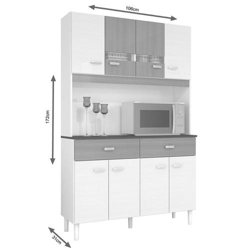 armário p/ cozinha 8 portas 2 gavetas - poquema kit manu 8p