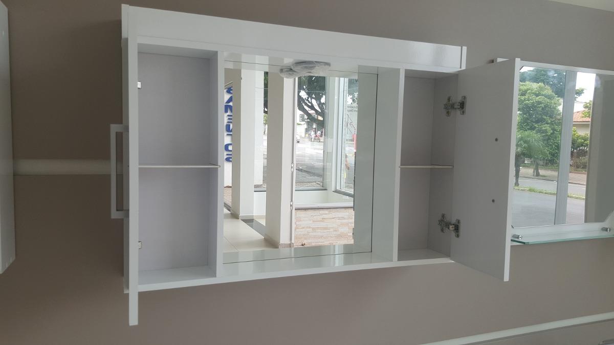 Espelheira Com Armário Para Banheiro Ferrara  R$ 208,00 em Mercado Livre -> Armario De Banheiro Mercado