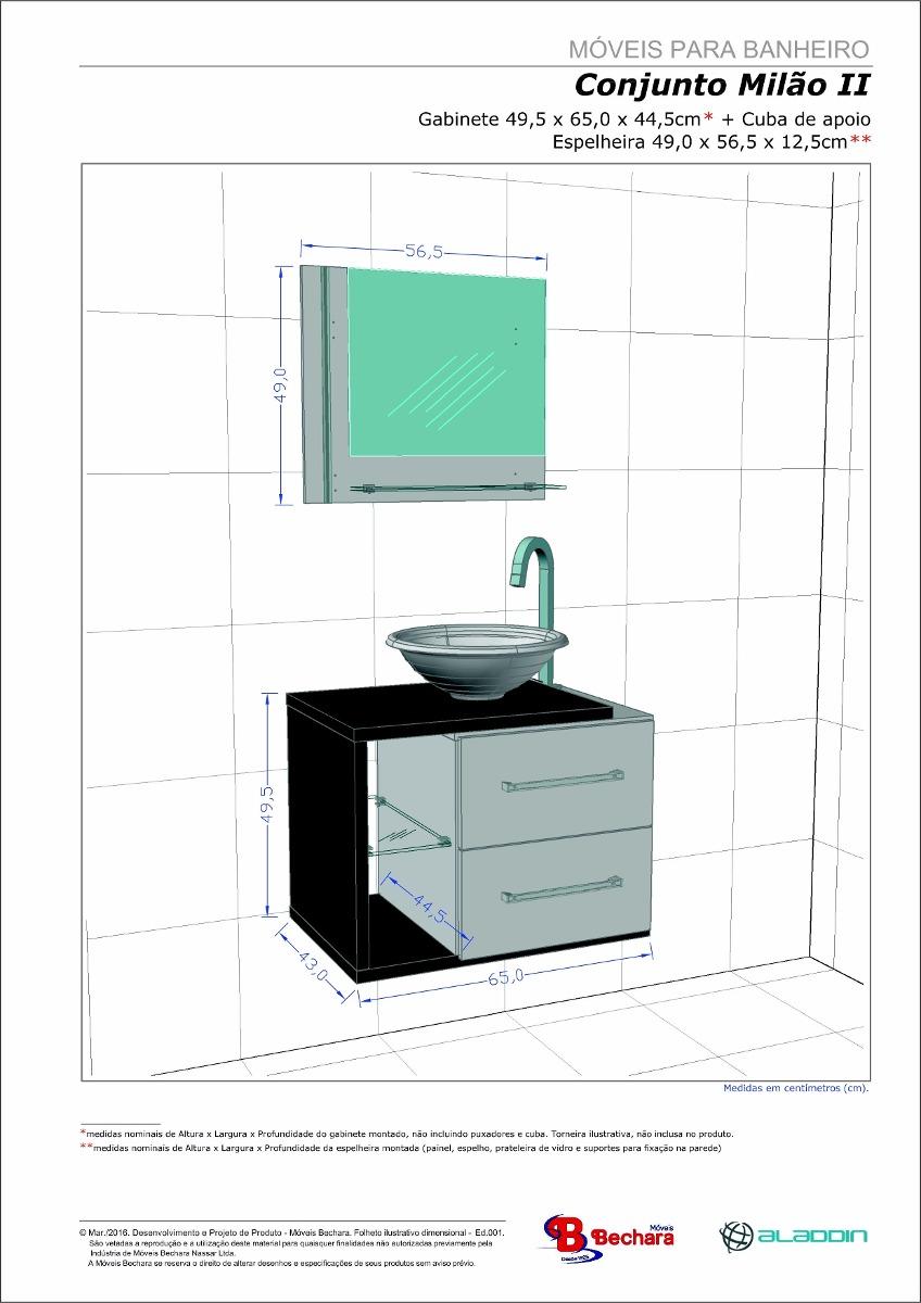 Gabinete Armário Para Banheiro Com Pia Milão Brancoavelã  R$ 459,90 em Merc -> Altura Do Armario De Banheiro