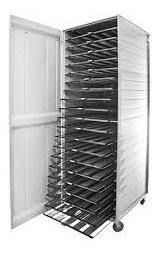 armário para pão francês 58x70cm + 20 assadeiras 5 tiras.