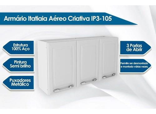 armário parede cozinha itatiaia criativa aço 3 portas branco