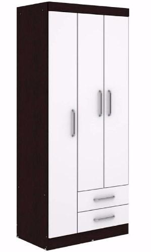 armario - ropero 3 puertas 2 cajones - placard