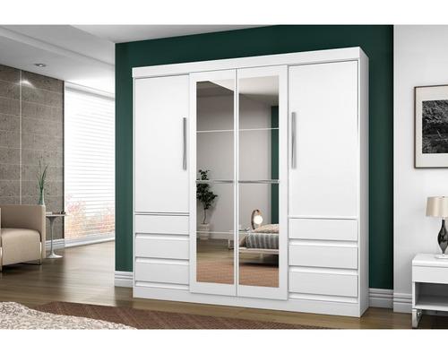 armário roupeiro 4 pts 6gvts com espelho 1577 avelã araplac