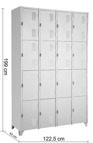 armário roupeiro de aço  vestiário academia 16 portas locker