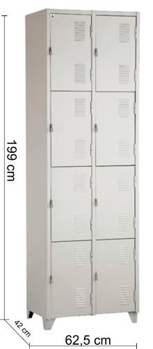 armário roupeiro de aço vestiário / academia 8 portas locker