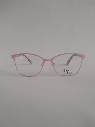 armazón anteojos vercelli  metal y acetato rosa