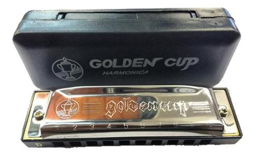armonica blusera golden cup 20 tonos en do con estuche