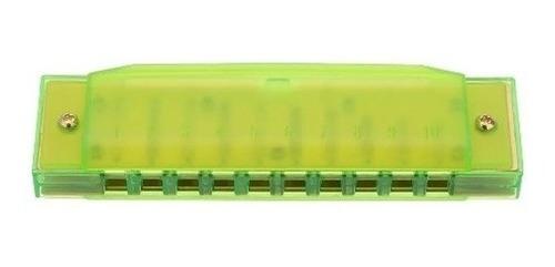 armonica parquer plastico verde niños 10 celdas en do