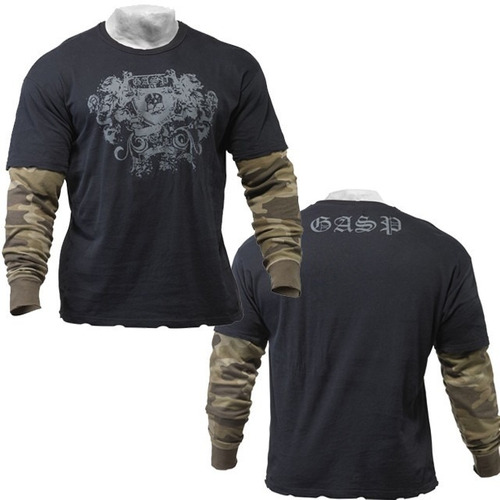 army l/s 2in1 black/camoprint  gasp talla m