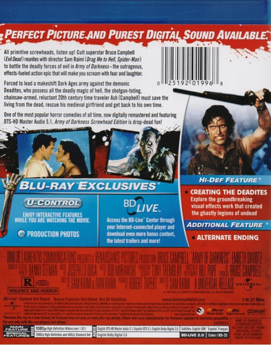 army of darkness evil dead 3 pelicula importada blu-ray