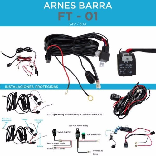arnes cable switch relay faros barras led jeep 4x4 motos bmw