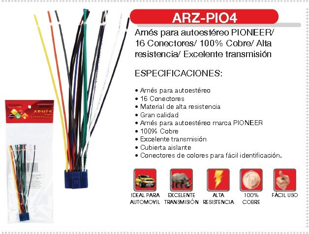 MLM 549505703 Arnes Fussion Autoestereo Pioneer Arz Pio4 16 Conectores  JM on car stereo wiring diagram