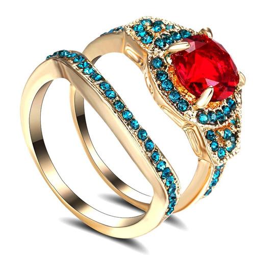 aro 17 anel duplo aliança feminino rubi água marinha dia 70