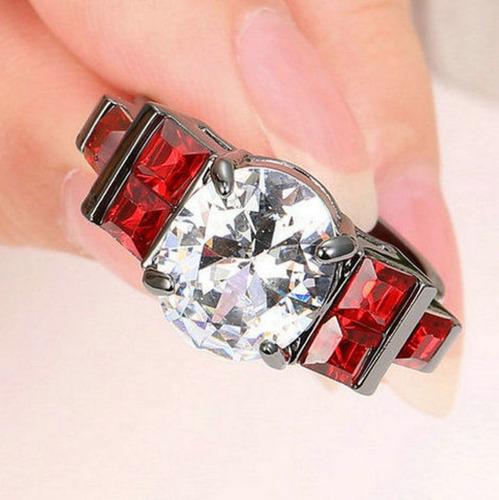 aro 22 anel feminino solitário quartzo diamante rubi 850 p