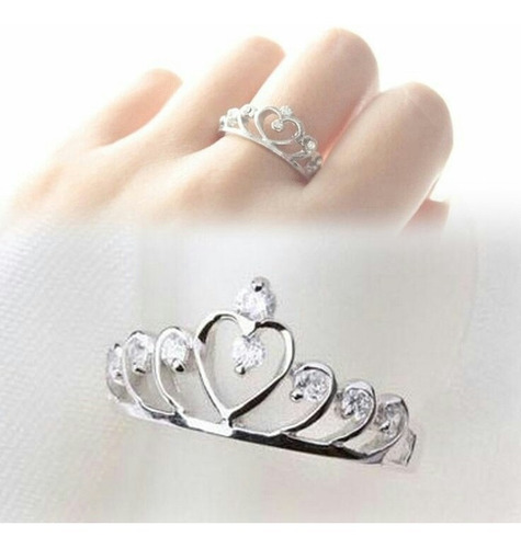aro anillo corona en plata 950. princesa.