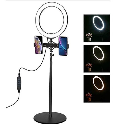 aro anillo de luz con doble abrazadera para celular