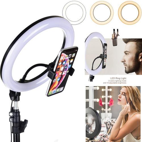 aro anillo luz led selfie fotografía 26cm+ trípode regulable