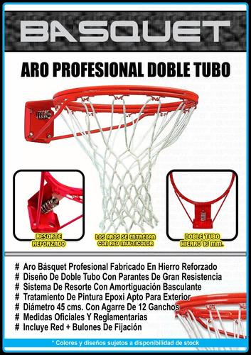 aro básquet profesional - doble tubo + resorte + red oficial