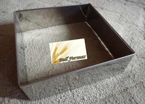 aro cortador quadrado 30x10cm alto para bolo  em aço inox