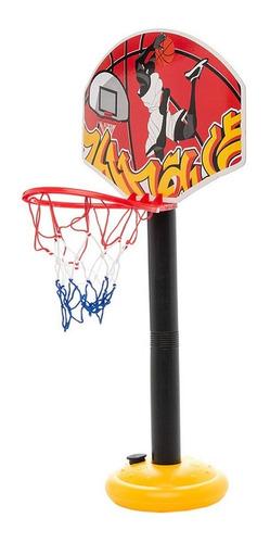 aro de baloncesto de juguete con malla rojo