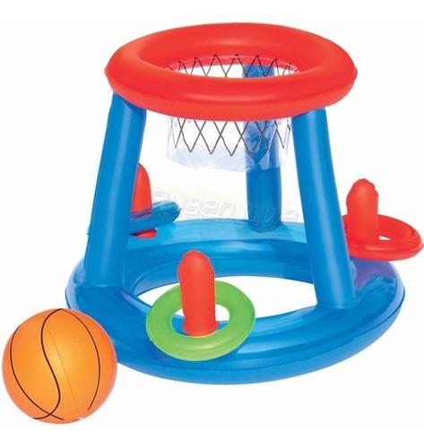 aro de basket con pelota y aros pileta chicos inflable 52190
