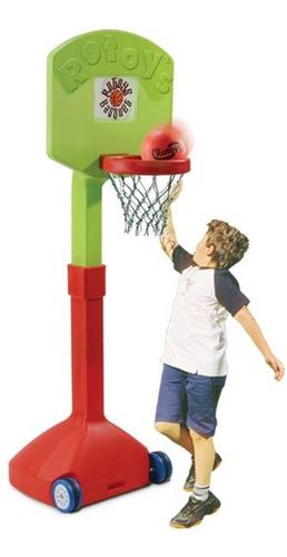 aro de basquet de pie rotoys gigante regulable pelota y red